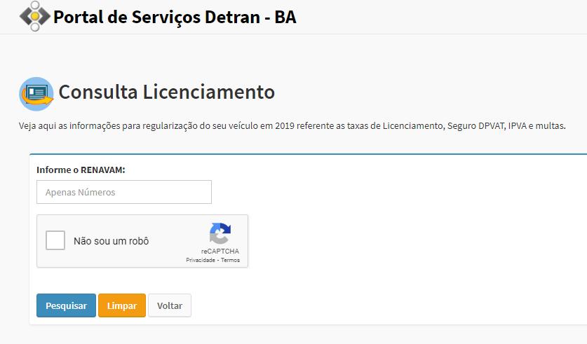 Como imprimir licenciamento Detran BA?