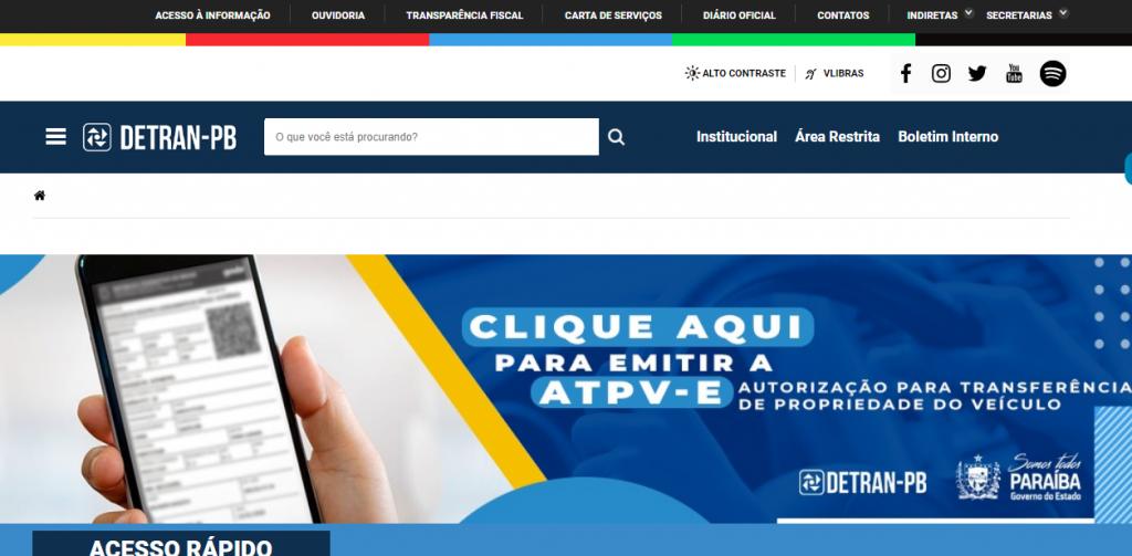 Site Oficial do Detran PB