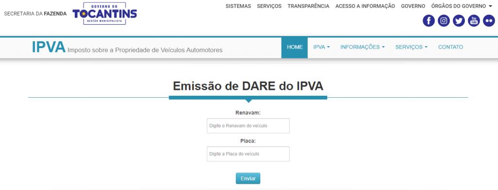 Emissão de 2ª via de boleto IPVA TO